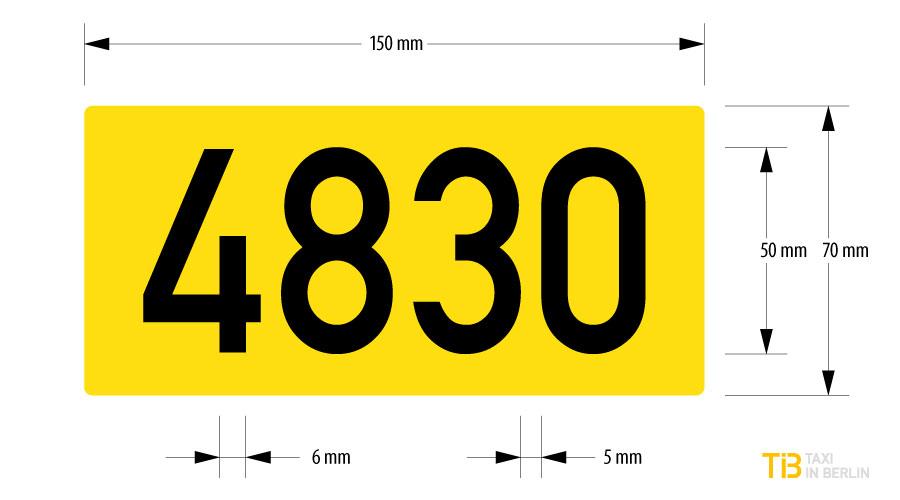 Ordnungsnummern-Schild Taxi